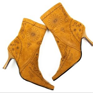 Faux Suede Ankle Boots with Design